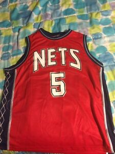 quality design 10b41 0a2e8 Details about Jason Kidd New Jersey Nets Red Jersey #5