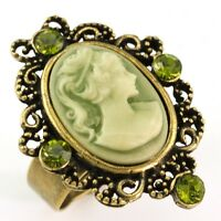 Antique Gold Vintage Style Cameo Ring Green Stone Crystal Stone Lady Size Free F