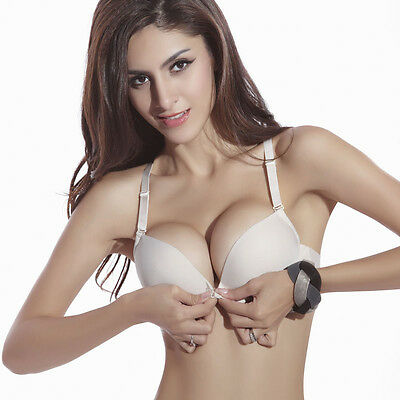 Sexy Ladies Fashion Front Closure Fastening Support Thin Padded Push Up Bra C