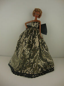 Gold Sequined Ball Gown with Black Underneath Made to Fit the Barbie Doll