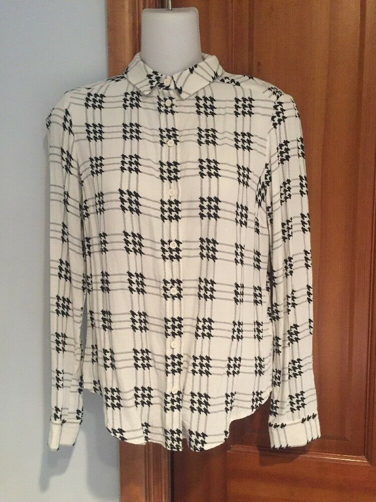 Topshop Weiß Tooth Viscose Long Sleeve Button Down Shirt Größe 2