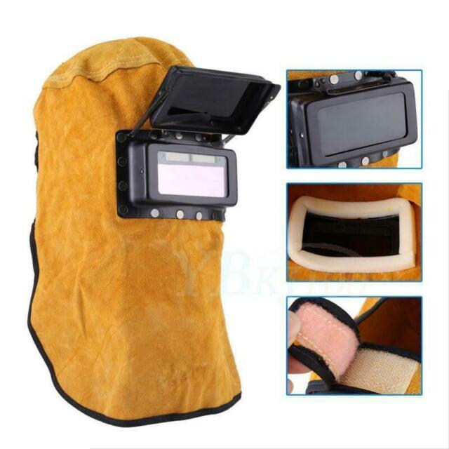 Solar Auto Darkening Filter Lens Welder Leather Hood Welding Helmet Mask New