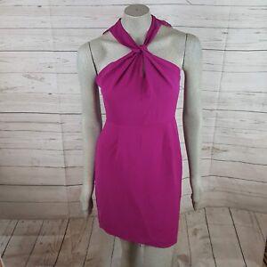 Details About 19 Cooper Magenta Twisted Halter Dress Lace Open Back Hidden Zipper
