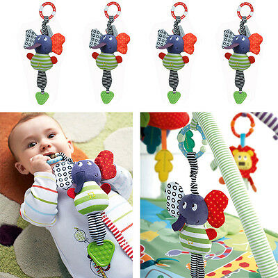 Baby Infant Kids Music Elephant Hanging Bed Soft Dolls Bell Plush Toys Teether