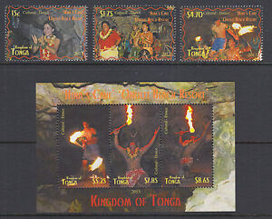 Tonga-Sc-1216-1219-MNH-2013-Fire-Dancers-cplt-set-including-scarce-s-s-VF