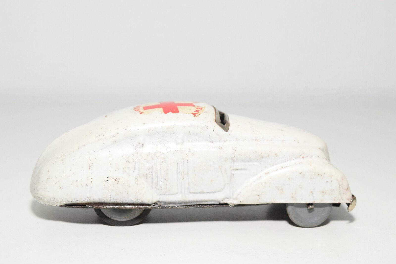 TINPLATE BLECH ENGLAND BRITISH SIREN AMBULANCE CAR WHITE WHITE WHITE EXCELLENT CONDITION c65e5e