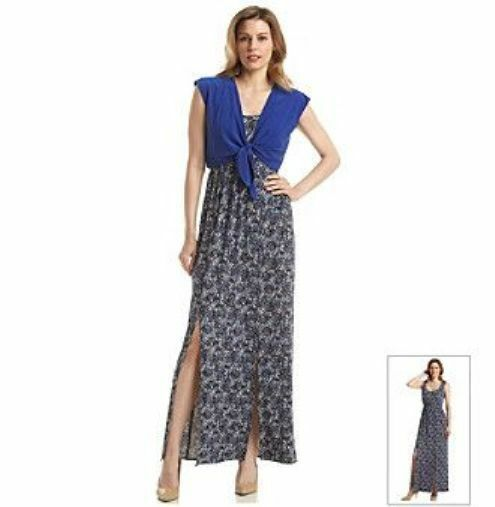 New Perceptions  Size 8  bluee Solid Tie Crop Cardigan  Long Dress 2 pieces ( 88)