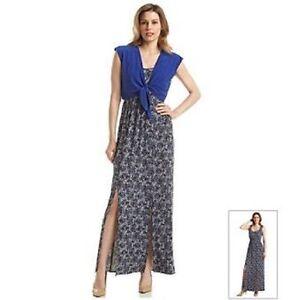 0063388896f New Perceptions  Size 8  Blue Solid Tie Crop Cardigan  Long Dress 2 ...