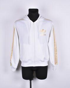 Adidas-Capucha-Hombre-Blanco-Jersey-Chaqueta-de-Chandal-Talla-M