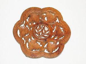 Indien 15 Cm Holz Geschnitzter Untersetzer Ca 1970 / Carved Indian Trivet Bereitstellung Von Annehmlichkeiten FüR Die Menschen; Das Leben FüR Die BevöLkerung Einfacher Machen
