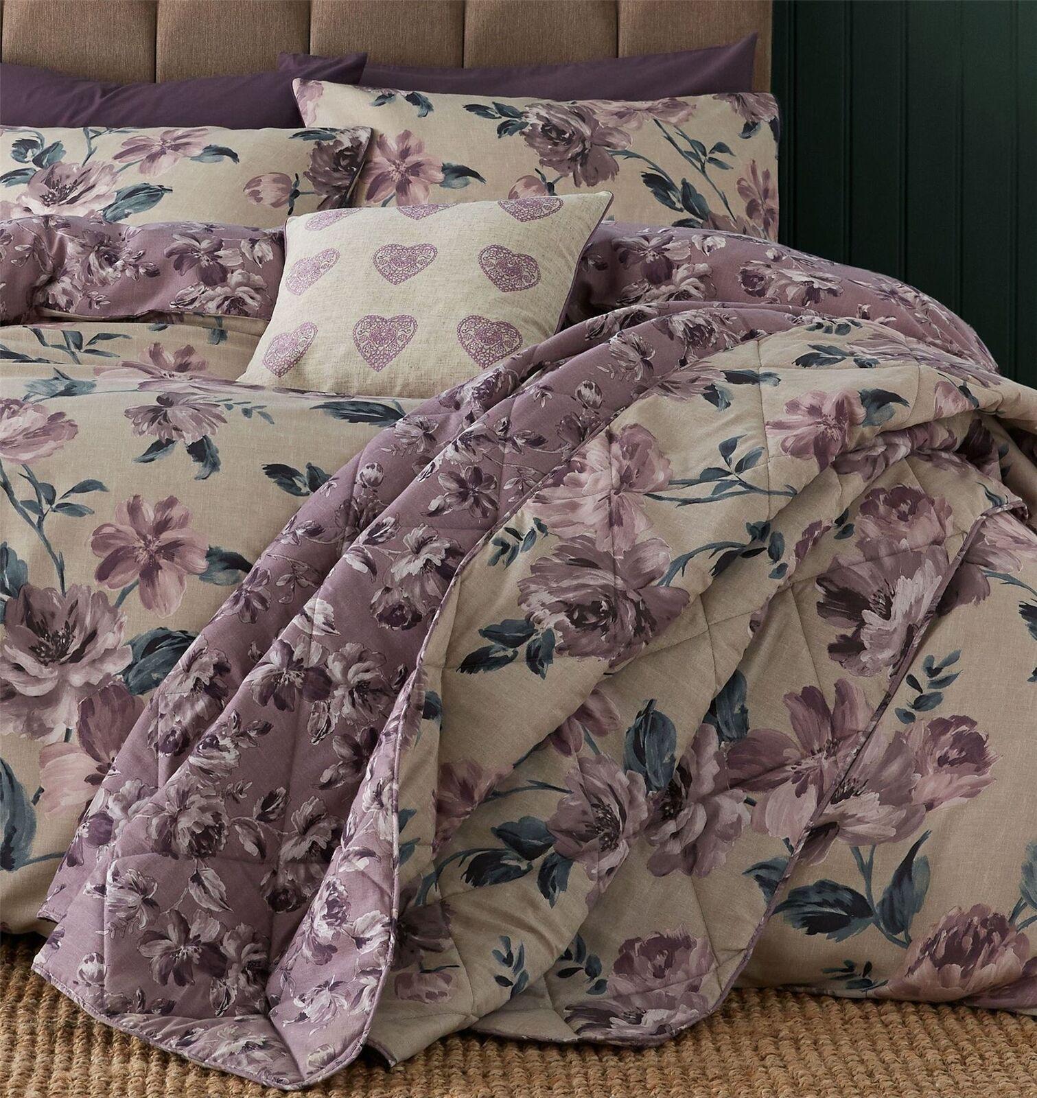 PAINTED-STYLE FLORAL FLOWERS BEIGE SINGLE DUVET COVER & BEDSPREAD 220X230CM Bedding