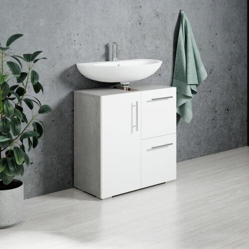 Badezimmer Badmöbel Mars Beton mit Weiß Unterschrank Badmöbelset Badschrank