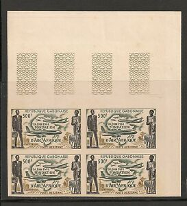 Gabon-C5-VF-MNH-Imperforated-Block-1962-500fr-Air-Afrique-Issue