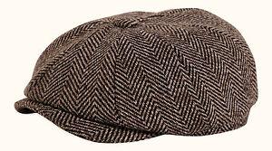 24daa1ad12d9d Shelby  Brown Tweed Newsboy Button Top Flat Cap By Gamble   Gunn