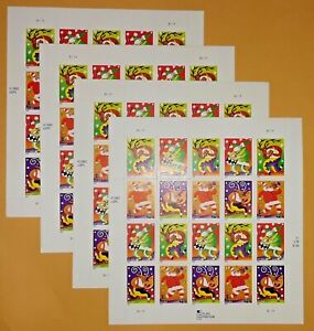 Four x 20 = 80 Of HOLIDAY MUSIC MAKERS 37¢ US PS Postage Stamps. Sc # 3821-3824