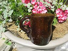 """ANTIQUE BENNINGTON  ROCKINGHAM Pottery Creamer PITCHER dark BROWN  5"""""""