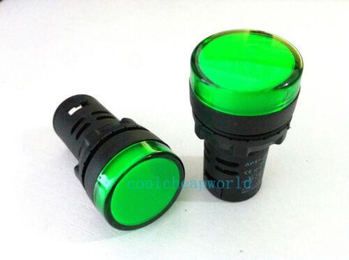 220V 16mm Green LED Power Indicator Signal Light