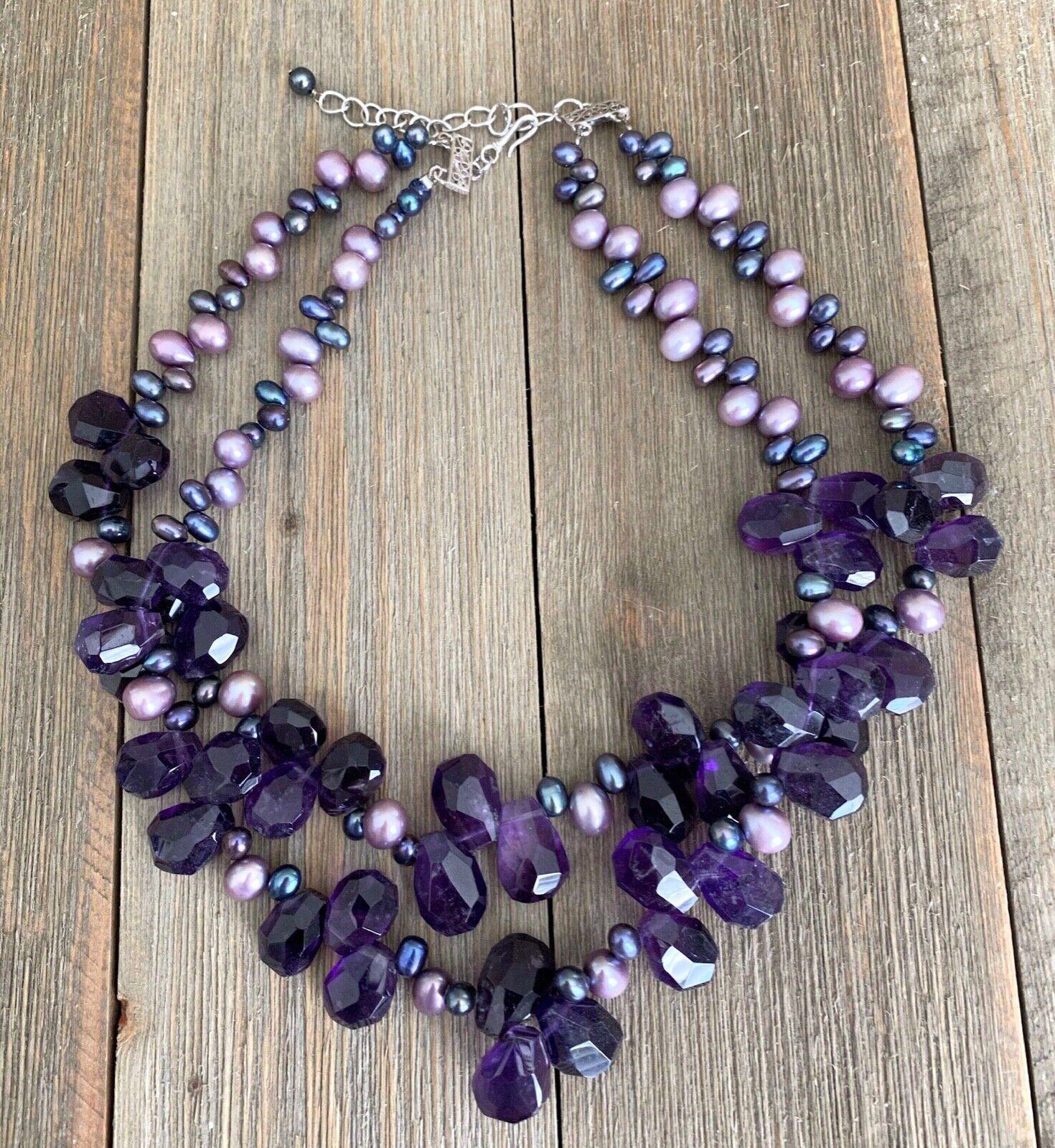 Necklace Amethyst Pearls Cluster Diana Venezia Ra… - image 5