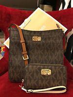 Michael Kors Pvc Jet Set Messenger Bag + Mf Wristlet/wallet In Brown