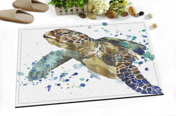 Splashing Watercolor Sea Turtle Shower Curtain Hooks Bath Mat Waterpoof Fabric Hover To Zoom