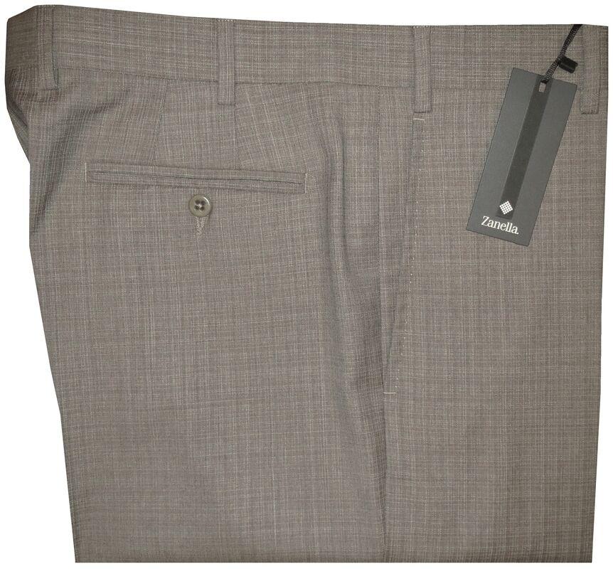 NEW ZANELLA ITALY DEVON KHAKI TAUPE SUPER 130'S WOOL DRESS PANTS 42