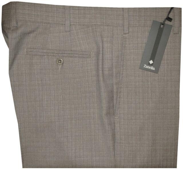 $365 NEW ZANELLA ITALY DEVON KHAKI TAUPE SUPER 130'S WOOL DRESS PANTS 34