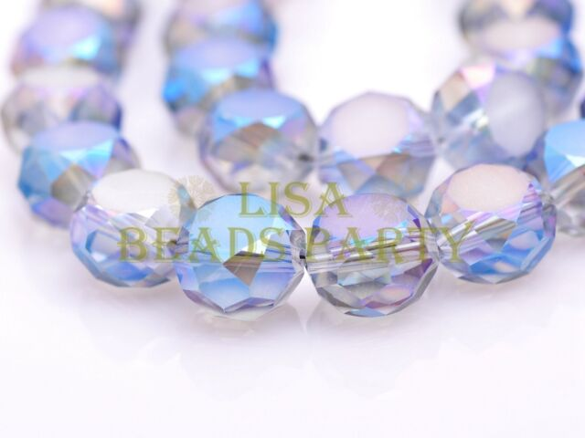 10pcs 14mm Drum Rondelle Faceted Crystal Glass Loose Spacer Beads Blue Colorized