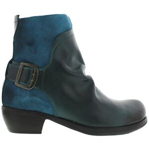 2d867dba79ce8 Fly London Women's Mel Rug Petrol Suede Leather Ankle Boots Buckle ...