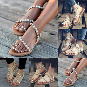 Women-039-s-Flower-Boho-Sandals-Summer-Beach-Holiday-Open-Toe-Flip-Flops-Flat-Shoes