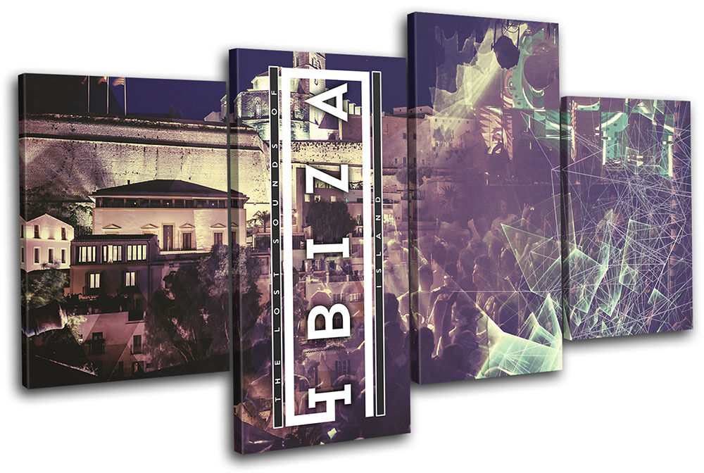 Ibiza Island Typography DJ Club MULTI TOILE TOILE TOILE murale ART Photo Print 198d5f