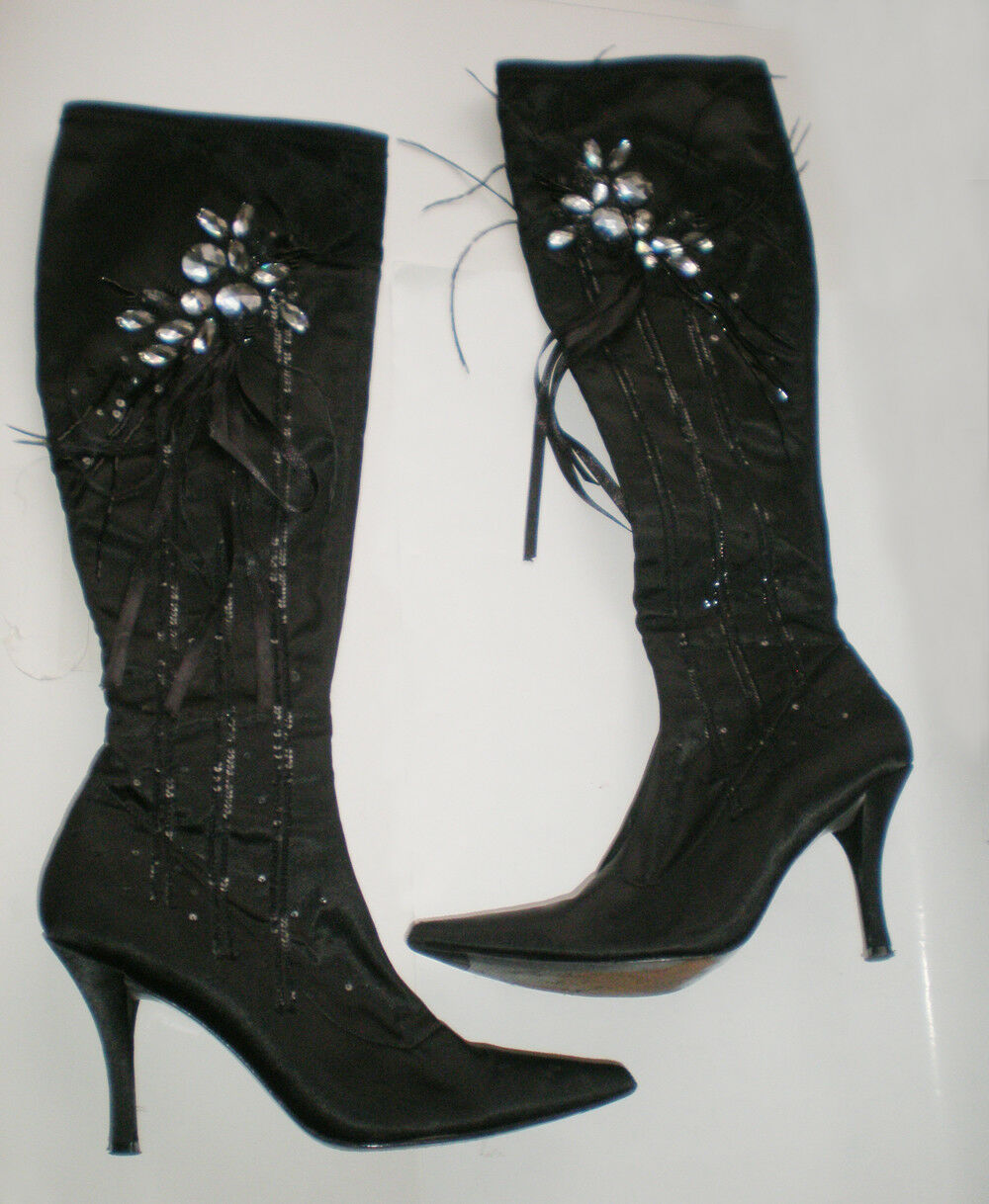 Bourne Satin Boots shoes with Swarovski Crystals, size EU 40