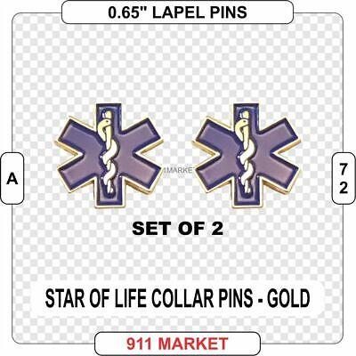 Mini Caduceus Pins Silver Collar Set of 2 Medical EMS EMT Paramedic Nurse  A 118