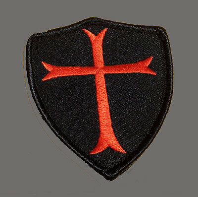 CROSS CRUSADER  SHIELD EMBROIDERED  3.0 INCH ODA TACTICAL COMBAT HOOK  PATCH