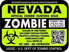 Nevada Zombie Hunting License Permit 3x4 Decal Sticker Outbreak 1238