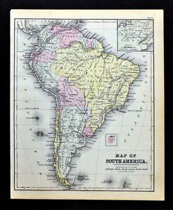 Map Of America Ebay.1882 Cowperthwait Map South America Brazil Argentina Chile Bolivia