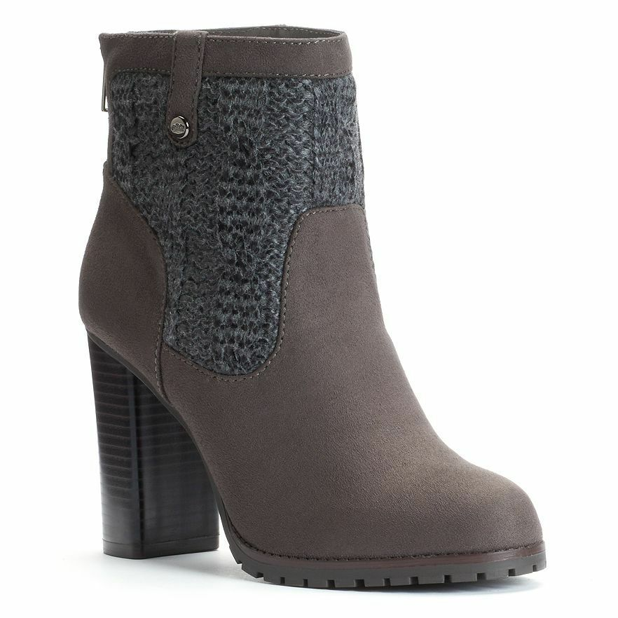 89 NWT Women's Juicy Couture High Heel Sweater Ankle Boots Gry