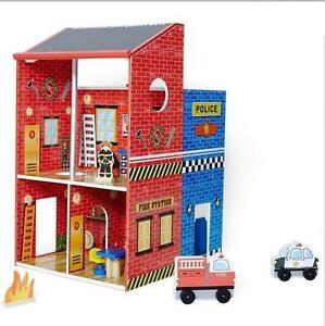 Wooden-Fire-amp-Police-Station-Playset-With-12-Wooden-Accessories-68cm-High-New