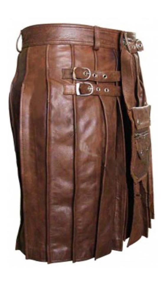 Mens Real Cowhide Leather Brown Heavy Duty Beautiful Pleated Kilt & Sporran LARP