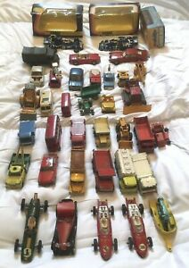 Dinky-Corgi-Spot-On-amp-Lesney-Matchbox-Job-Lot-Of-37-Vehicles-Including-Boxed