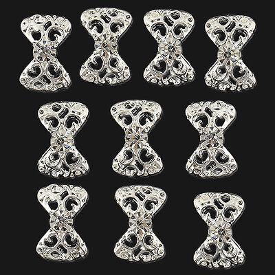 Lot 10pcs Acrylic 3D Stickers Bow Tie Rhinestone Nail Art Glitter DIY Decoration