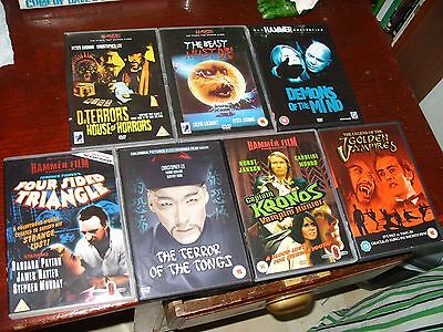 Job Lot 7 x Amicus & Hammer Horror DVDs Four Sided Triangle/Terror Tongs/Kronos+