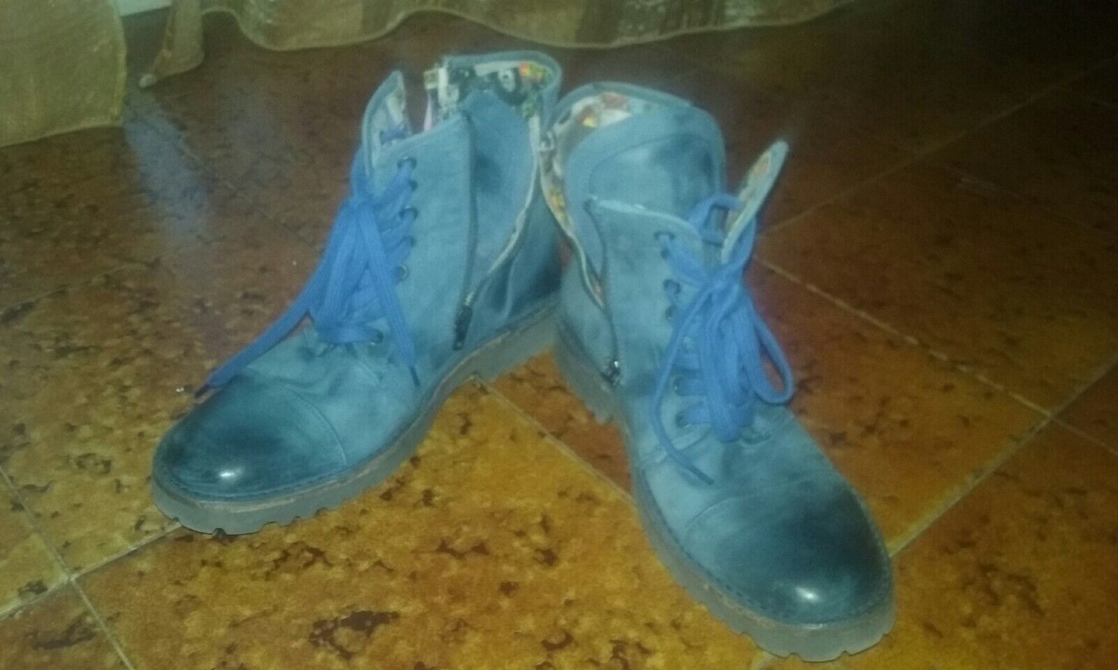 blueE LEATHER ANKLE BOOTS - MADE IN ITALY - SIZE 8