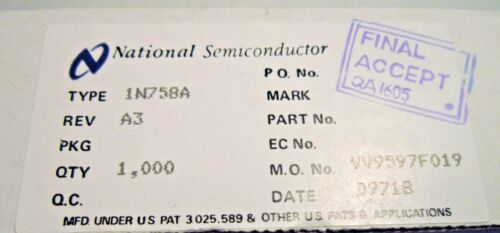 1N758A NSC ZENER DIODE 10V 0.5W 10-PC LOT