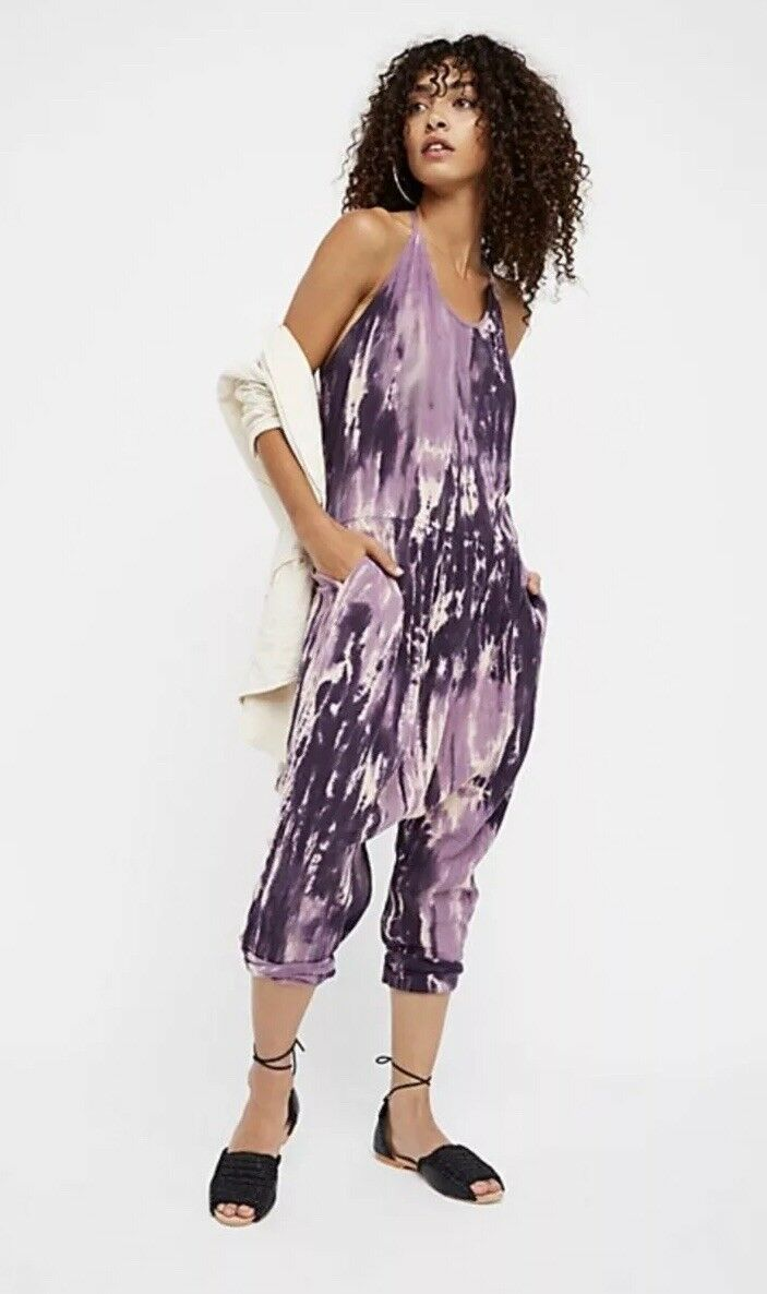 28f066ea4db NEW Sz L People One Teaspoon Moonridge Harem Jumpsuit Purple White ...