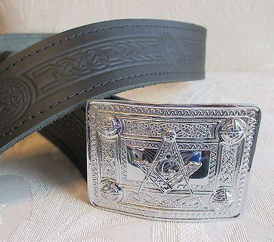NEW Celtic Embossed Black Leather Belt & Masonic Buckle * Scottish Men's Kilt