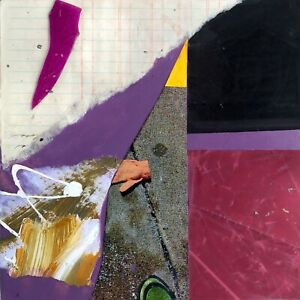 BLACK-HOUSE-Small-Abstract-Collage-Painting-Steven-Tannenbaum-Original-Art