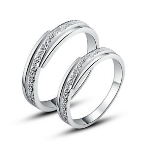 63c012fc9eb9b Details about His & Hers Rings Solid Sterling Silver Couple Promise Rings  Set Nickel Free