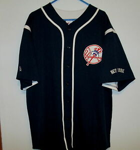 huge selection of 8d34b e9210 Details about New York Yankees baseball jersey Majestic -Navy and white  MENS XL New with tags