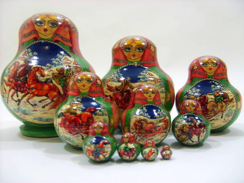 10pc russes peinte à la MAIN nidification poupée russe Troïka