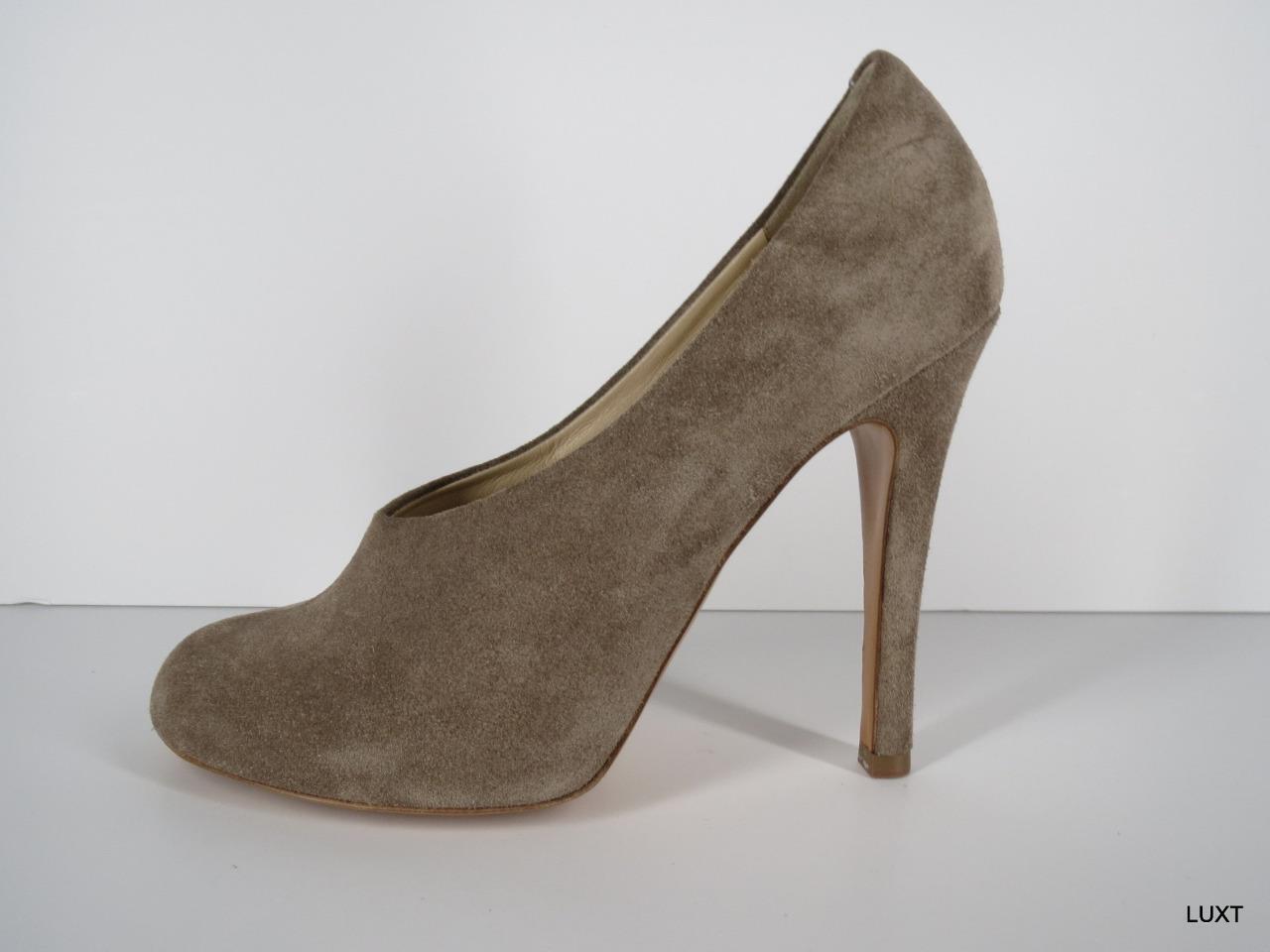 Chloe Pumps Heels Booties  542 Size 10 40 Suede Beige Taupe Platform Stilettos